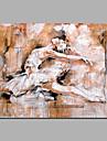 HANDMÅLAD Abstrakt / MänniskorModerna En panel Kanvas Hang målad oljemålning For Hem-dekoration