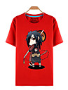 Inspire par Naruto Sasuke Uchiha Manga Costumes de Cosplay Cosplay T-shirt Imprime Rouge Manche Courtes Haut Pour Masculin