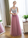 Prom / Formal Evening Dress Sheath / Column Scoop Floor-length Satin / Tulle with Sequins