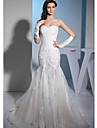 Trumpet / Mermaid Wedding Dress Court Train Sweetheart Organza / Satin with Appliques / Beading