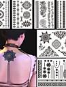 6st svarta falska vattentät tatuering tillfällig tatuering för kvinnor kroppsutsmyckning blomma halsband smycken klistermärke gåva