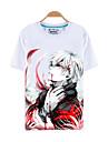 Inspirerad av Tokyo Ghoul Ken Kaneki Animé Cosplay Kostymer/Dräkter Cosplay T-shirt Tryck Vit Kort ärm Topp