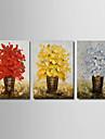 redo att hänga sträckte handmålade tjock oljemålning 3 paneler duk väggkonst vit gul blå blomma blommor