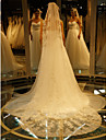 One-tier-Lace Applique Edge-Angel cut/Waterfall-Cathedral Veils(Ivory,Embroidery)