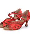 Chaussures de danse(Noir / Bleu / Rouge) -Personnalisables-Talon Bobine-Satin / Paillette Brillante-Ventre / Latine / Jazz / Moderne /