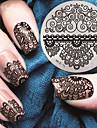 2016 senaste versionen mode mönster spets blomma nail art stämpling bild mall plattor