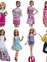 Princesse Costumes Pour Poupee Barbie Violet / Blanc Imprime Robes / Jupes / Pantalons / Hauts