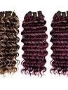 3st top super 100% brasilianska hår rå jungfru människohår väver hårweft, nya vinkar djupt, 110g, naturliga färgglada hår
