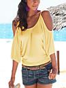 Mulheres Camiseta Casual Sensual Verao,Solido Amarelo / Roxo Algodao / Poliester Decote Redondo Meia Manga Fina