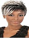 2015 afrikansk amerikan peruker mode kort rak kvinna syntetiska peruker hår grå peruk