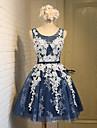 A-line scoop genunchi dantelă dantelă rochie de mireasa cu dantelă cercevea / panglică