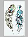 mode tatuering påfågelfjäder vattentät tatuering klistermärken