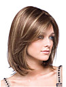 Capless Women 12inch Straight Wave Synthetic Hair Wigs Brown Blonde Side Bang with Free Hair Net