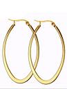 Dame Cercei Rotunzi  La modă Oțel titan 18K de aur Circle Shape Oval Shape Bijuterii Pentru Petrecere Zilnic Casual