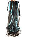 ciel longueur perruque bleu queue de cheval boucles 55cm synthetique vague profonde de haute temperature bleu ciel couleur de fil