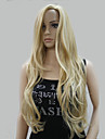 New Fashion No Bangs Side Skin Part Top Women\'s Golden Blonde Mix Long Curly Wavy Wig