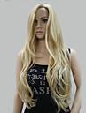or melange blonds longs ondules perruque frisee de nouvelle mode aucune partie frange de cote peau meilleures femmes