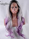 dentelle synthetique perruque avant racine sombre OMBRE noir / argent / violet a long ondules perruques de perruques synthetiques sans