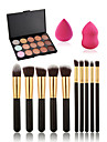 10pcs maquillage brosses set + 15 couleurs anticernes palette + maquillage eau eponge gonflants