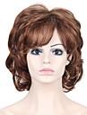 värmebeständiga billiga falska hår peruk brunt kort lockigt syntetiska peruker för kvinnor