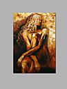 Peint a la main Abstrait / Fantaisie / Nu Peintures a l\'huile,Pastoral / Style europeen Un Panneau Toile Peinture a l\'huile Hang-peintFor