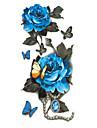 20x10cm lång färgrik hög lösning kropp konst blå pion blommor cirklar design tillfälligt falska flash tatoo sticker Taty