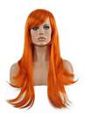 perruque cosplay longue perruque synthetique vente chaude ondulee droite orange.