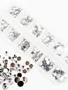 1200pcs ab färg akryl diamant nail art dekorationer 1,5 / 2/3/4/5/6 mm