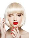 Capless vit färg kort längd högkvalitativa naturliga raka syntetisk peruk