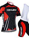 KEIYUEM® Cykeltröja med Bib-shorts Dam / Herr / Unisex Kort ärm CykelAndningsfunktion / Snabb tork / Damm säker / Bärbar / Kompression /