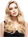 24 tum kvinnor långt vågigt syntetiskt hår peruk blont
