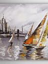 handmålade oljemålning landskap fartyg nära hamnen i med sträckt ram 7 vägg arts®