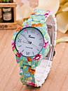 Women\'s Fashion Watch Quartz Plastic Band Flower Green Brand