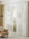 Deux Panneaux Moderne Rayure Blanc Salle de sejour Melange Poly/Coton Sheer Rideaux Shades