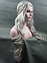 cosplaya peruk nyanländ Game of Thrones Daenerys inspirerade hår cosplaya peruker silver
