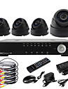 Ultra 4CH D1 Real Time H.264 600TVL High Definition CCTV DVR Kit (4stk Dag Nat Dome CMOS-kameraer)