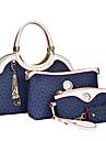 Dam PU Formell / Ledig / Kontor / Shopping Axelremsväska / Stor väska / Clutch-väska / bag set Vit / Rosa / Blå / Brun