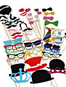 Hard Card Paper Wedding Decorations-60Piece/Set Unique Photo Booth Props Party Costumes with Mustache on a sticks