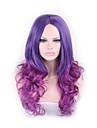 longs boucles cosplay ondules centraux femmes separation perruques cadeau lumiere perruque de cheveux de fille 65cm de mode ombre violet