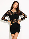 Women\'s Floral Lace Patchwork Crew Neck Long Sleeve Bodycon Sexy Dress
