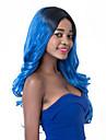 vogue europeen racines sombres a long sythetic vague bleue perruque de fete pour les femmes