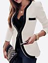 여성의 컬러 블럭 긴 소매 블레이져 화이트 / 블랙 레이온 / 폴리에스테르 사계절 중간