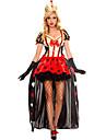 Costumes de Cosplay Reine Conte de Fee Cosplay de Film Rouge Mosaique Robe Casque Gants Cape Halloween Noel Nouvel an Feminin Polyester
