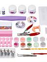 professionell 25st nail art manikyr set kit uv gel verktygs borste remover spik tips lim akryl kit diy uppsättning
