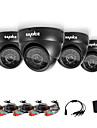 sannce® ahd 720p dome ir exterieur coupe cctv kits de camera cameras du systeme de securite a domicile aux intemperies