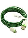 3m 10ft tyg flätat vävd micro usb laddningskabel uppgifter synkkabel för HTC sony telefoner (grön)