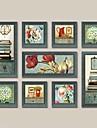 Landskap / Stilleben / fantasi Inramat set / Inramad oljemålning Wall Art,Trä Material Dark Blue Passepartout inkluderad med Frame For
