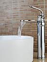 Contemporain Set de centre Cascade with  Valve en ceramique Mitigeur un trou for  Chrome , Robinet lavabo