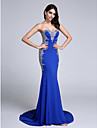 2017 TS Couture® Formal Evening Dress Trumpet / Mermaid Sweetheart Court Train Jersey with Crystal Detailing