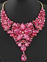 Femme Colliers Declaration Colliers plastrons Forme de Fleur Gemme Resine Mode Europeen Bijoux de Luxe ElegantGris Rouge Rose Rouge Bleu